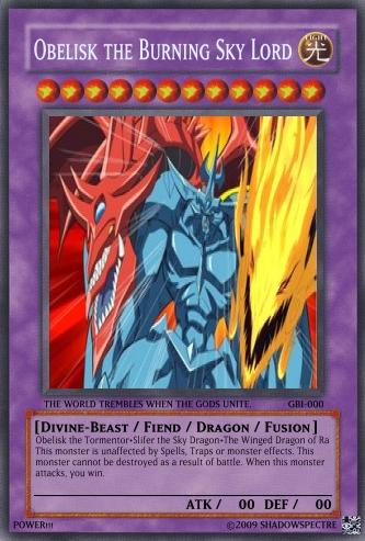 Image - ObeliskTheBurningSkyLord.jpg | Yu-Gi-Oh Card Maker ...