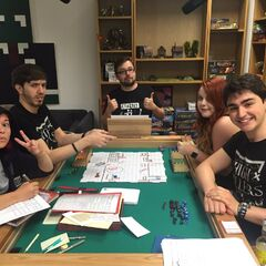 The crew having fun while playing High Rollers D&D.