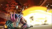 Yuma saves Tori from the blast