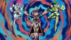 "From left to right: ""Alexandrite"", ""Lapis"" and ""Emerald"""