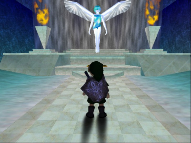 File:Ocarina of Time Beta Beta Great Fairy & Wooden Shield (Beta Screenshot).png