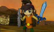 Hyrule Warriors Legends Toon Link Standard Outfit (Koholint - Tarin Recolor - Victory Cutscene)