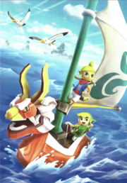 Hyrule Warriors Legends Artwork King of Red Lions, Toon Link, and Tetra (Artbook Portrait)