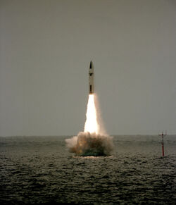 Polaris missile launch from HMS Revenge (S27) 1983