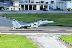 44th Fighter Squadron F-15C Eagle takes off at Kadena Air Base