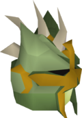 Green slayer helmet detail