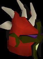 Red slayer helmet detail