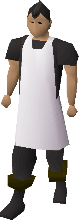 White apron equipped