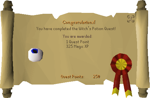 Witch's Potion reward scroll