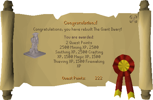 The Giant Dwarf reward scroll