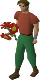 Red flowers equipped