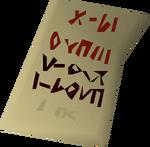 Scrawled note detail