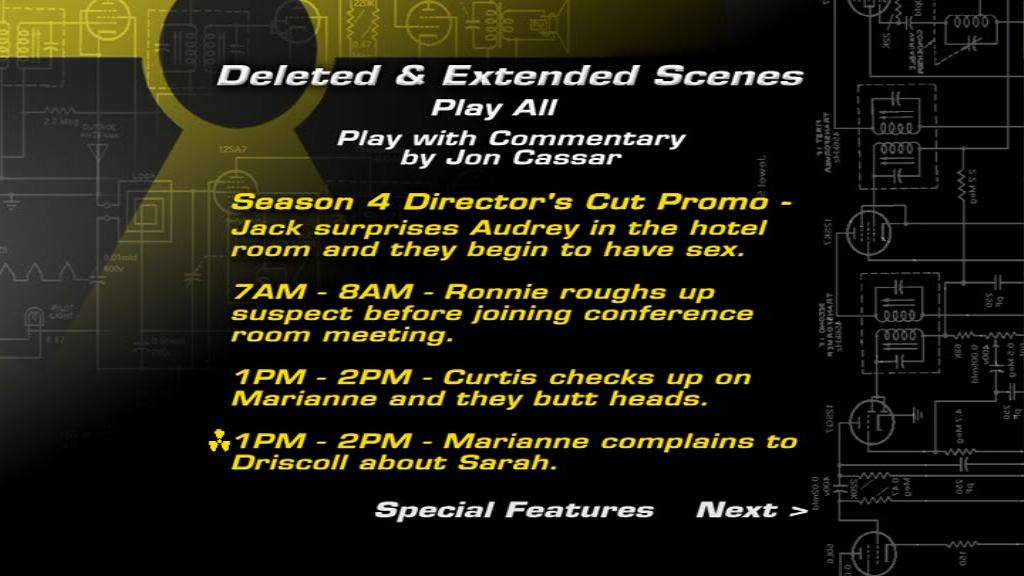 The Day 4 DVD menu showing the deleted scenes.
