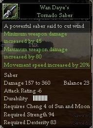 Wan Daye's Tornado Saber