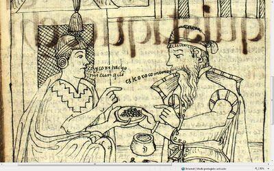 GPA371 Drawing147 - El Ynga pregunta al español qué come - El español responde -Este oro comemos