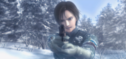 Kei Nagase pointing a gun to a Yuktobanian soldier