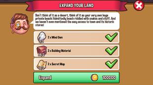 Land expansion desert