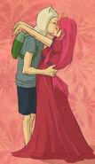 Princess Bubbleggum and Finn kissing