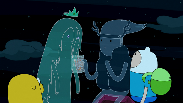 File:S3e24 Finn and Jake with Ghost Princess and Clarence.png