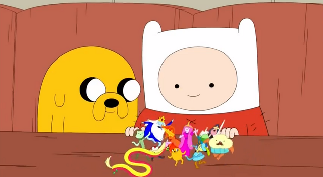 File:S5 e5 Finn and Jake watching the small characters.PNG