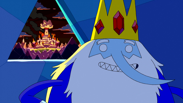 File:S5e24 Ice King with back to burning Candy Kingdom.png