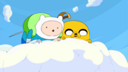 Finn & Jake looking down at The Land of OOO