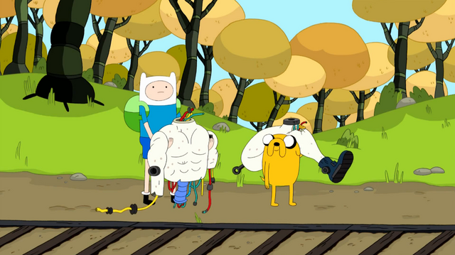 File:S4 E15 Finn and Jake at train tracks holding robot parts.png