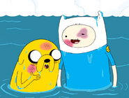 S4e21 Finn Jake bruised sitting in lake