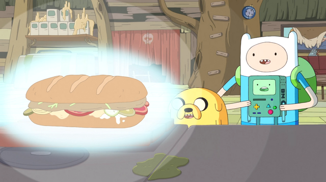 File:S5e33 Finn, Jake, and BMO admiring sandwich.png