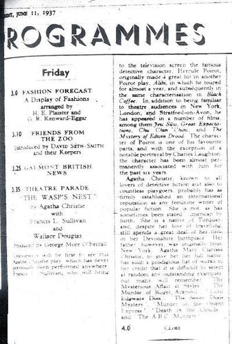Wasp's Nest Radio Times Billing 1937