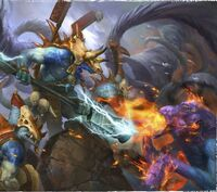 Seraphon Eternity Warden Saurus Guard vs Tzeentch Flamer Sigmarlore