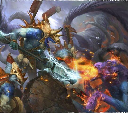 File:Seraphon Eternity Warden Saurus Guard vs Tzeentch Flamer Sigmarlore.jpg