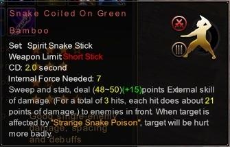 (Spirit Snake Stick) Snake Coiled On Green Bamboo (Description)