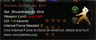 (Bhodidharma's Stick) Golem Subdues Evil (Description)