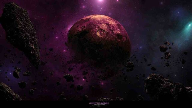 File:1191x670 7205 Ghost of Avalon 2d sci fi nebula stars space planet destroyed planet picture image digital art.jpg