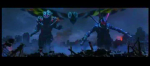 Mothra attacks Monster X and Gigan.