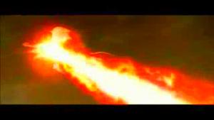 Keizer Ghidorah hit by Godzilla's Hyper Spiral Ray.