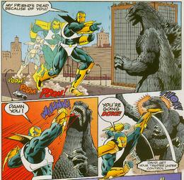 Hero Zero attacks Godzilla.