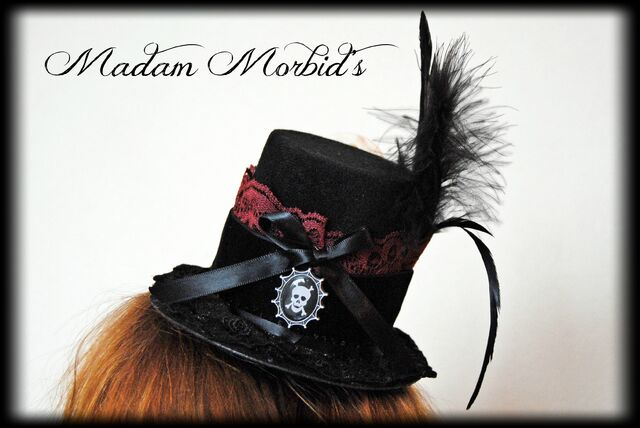 File:Madam Morbid Gothic Victorian Real Crow Skull Lace Mini Top Hat 3.JPG