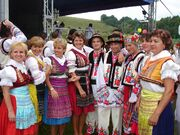 Carpatho-Rusyn sub-groups - Presov area Lemkos (left side) and Przemyśl area Ukrainians in original goral folk-costumes.