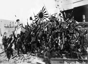 Japanese soldiers celebrate victory at Shanghai 1937