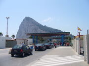 Rock of Gibraltar from the Spanish side of the frontier