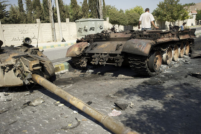 File:Syrian tank in Aleppo destroyed by NATO aircraft (SIADD).jpg