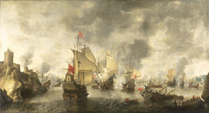 Battle of the combined Venetian and Dutch fleets against the Turks in the Bay of Foja 1649 (Abraham Beerstratenm, 1656)