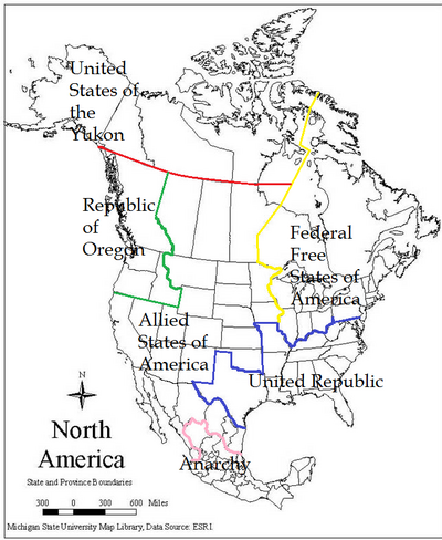 Map of North America (States of America 2)2