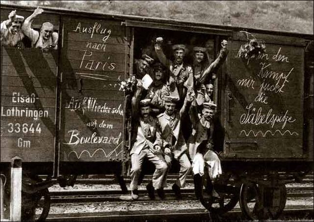 File:German soldiers in a railroad car on the way to the front during early World War I, taken in 1914 Taken from greatwar nl site.jpg