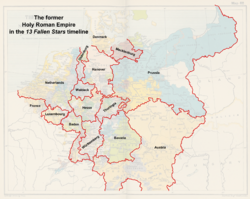 Map of the former Holy Roman Empire (13 Fallen Stars)