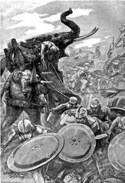1024px-The phalanx attacking the centre in the battle of the Hydaspes by Andre Castaigne (1898-1899)
