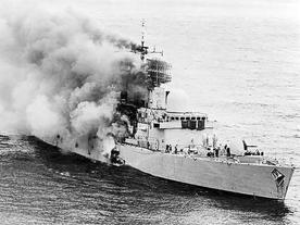 Burning British ships