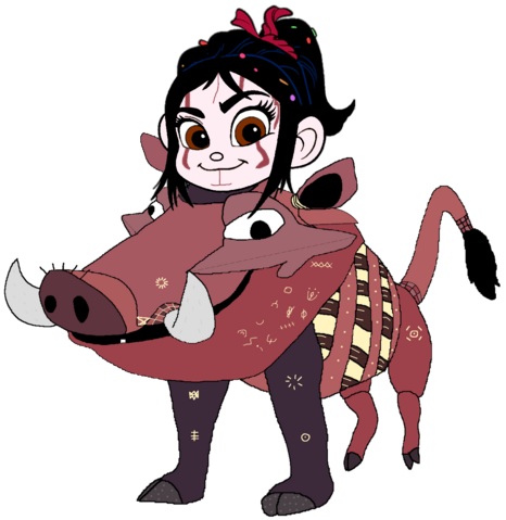 File:Vanellope dressed as Pumbaa.png